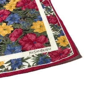 YSL Vintage Magenta Floral Handpocket Scarf